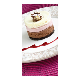 Neapolitan mousse dessert photo cards