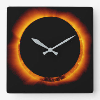 Near Total Solar Eclipse Square Wall Clock