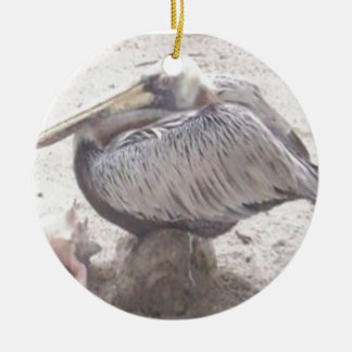 Neat Pelican with Shell Ceramic Ornament