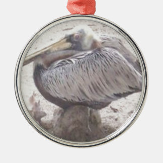 Neat Pelican with Shell Metal Ornament