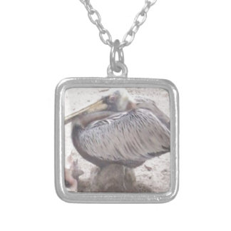 Neat Pelican with Shell Silver Plated Necklace