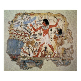 Nebamun hunting in the marshes with his wife poster