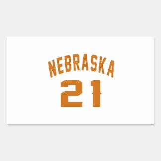 Nebraska 21 Birthday Designs Rectangular Sticker