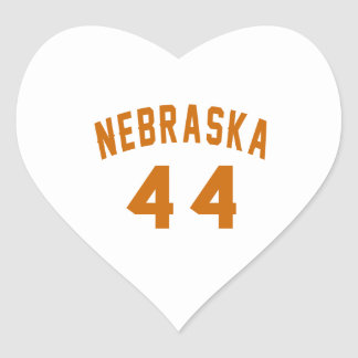 Nebraska 44 Birthday Designs Heart Sticker