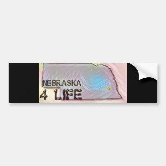 """Nebraska 4 Life"" State Map Pride Design Bumper Sticker"