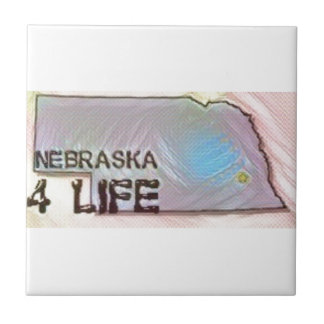 """Nebraska 4 Life"" State Map Pride Design Ceramic Tile"