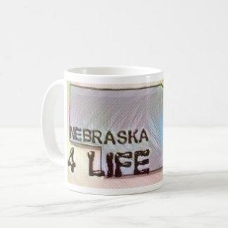 """""""Nebraska 4 Life"""" State Map Pride Design Coffee Mug"""