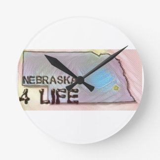 """Nebraska 4 Life"" State Map Pride Design Round Clock"