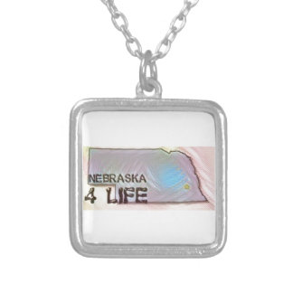 """Nebraska 4 Life"" State Map Pride Design Silver Plated Necklace"