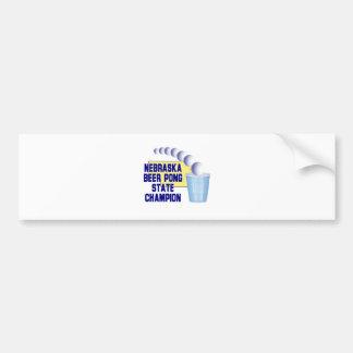 Nebraska Beer Pong Champion Car Bumper Sticker
