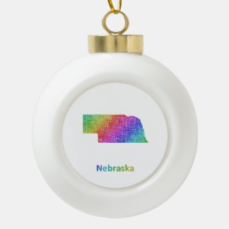 Nebraska Ceramic Ball Christmas Ornament
