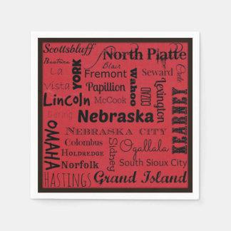 Nebraska cities typography napkins disposable serviettes
