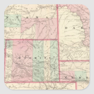 Nebraska, Dakota, Idaho, Montana, and Wyoming Square Sticker