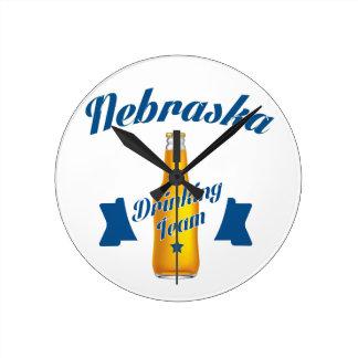 Nebraska Drinking team Round Clock