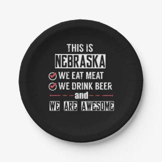 Nebraska Eat Meat Drink Beer Awesome Paper Plate