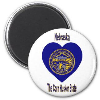 Nebraska Flag Heart Magnet