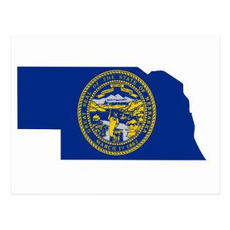 Nebraska Flag Map Postcard