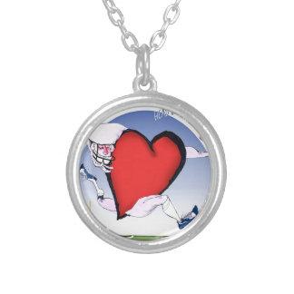 nebraska head heart, tony fernandes silver plated necklace