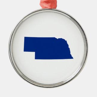 Nebraska in Blue Metal Ornament
