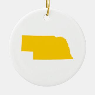 Nebraska in Gold Ceramic Ornament