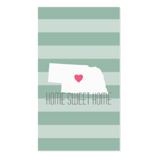 Nebraska Map Home State Love with Custom Heart Pack Of Standard Business Cards