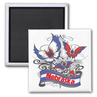 Nebraska Patriotism Butterfly Square Magnet