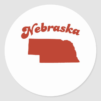 NEBRASKA Red State Round Sticker