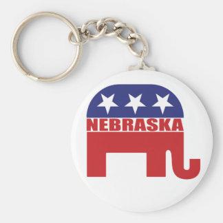 Nebraska Republican Elephant Basic Round Button Key Ring