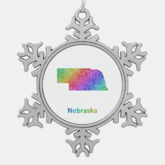 Nebraska Snowflake Pewter Christmas Ornament