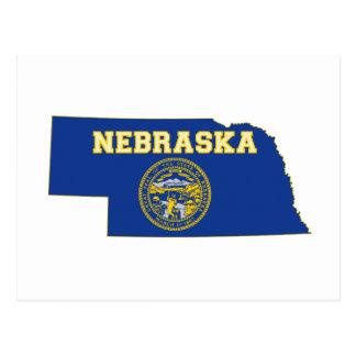 Nebraska State Flag and Map Postcard