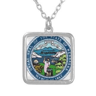 Nebraska State Seal Silver Plated Necklace