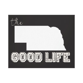 Nebraska - The Good Life in Black & White Stretched Canvas Print