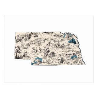 Nebraska Vintage Picture Map Postcard