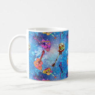 NEBULA SPACE GUITAR LILAC BLUE SKY COFFEE MUG