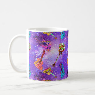 NEBULA SPACE GUITAR PURPLE SKY COFFEE MUG