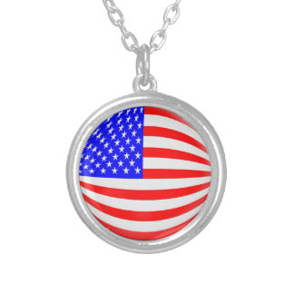 """Necklace + 18"""" chain USA American flag"""