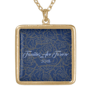 Necklace Blue & Golden Rose-Familes Are Forever