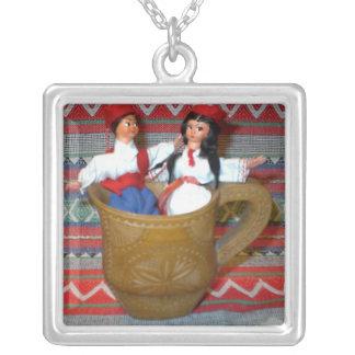Necklace: Ethnic flirting couple Square Pendant Necklace