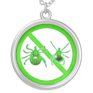 Necklace, Lyme Disease Tick Awareness, Green Ticks Silver Plated Necklace