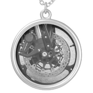 Necklace- Motorcycle Wheel Silver Plated Necklace