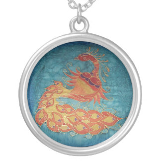 Necklace: Peacock Silk Painting Silver Plated Necklace