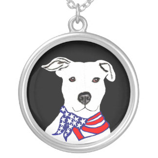 necklace pendant Pitbull with American flag