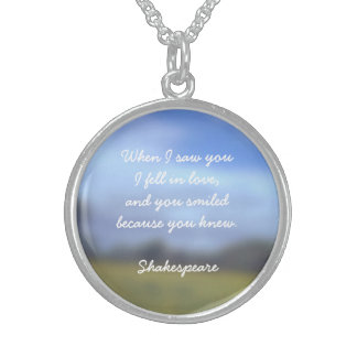 Necklace Pendant with Shakespeare Quote of Love