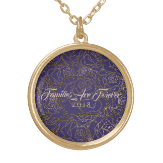 Necklace Purple & Golden Rose-Familes Are Forever