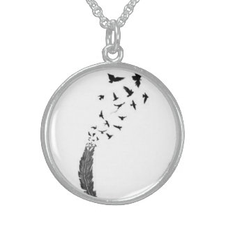 necklace, simple, birds, nature silver necklace