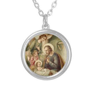Necklace: St. Joseph Nativity Round Pendant Necklace
