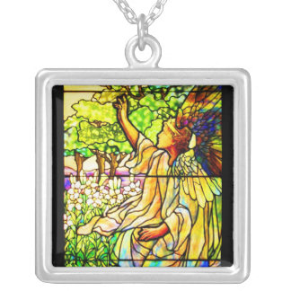 Necklace-Stained Glass-Tiffany 16 Silver Plated Necklace