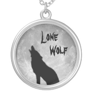 Necklace: Sterling Silver Necklace: Lone Wolf Round Pendant Necklace