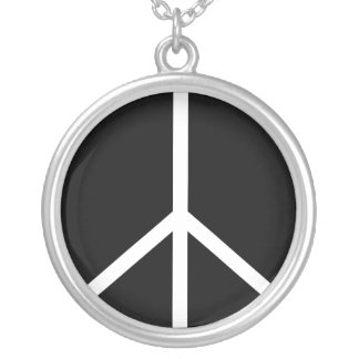 Necklace: Sterling Silver Peace Sign Round Pendant Necklace