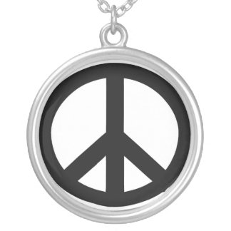 Necklace: Sterling Silver Peace Sign Necklace. Round Pendant Necklace